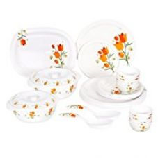 Buy Borosil Milano Aarushi Melamine Dinner Set, 31 Pieces, White from Amazon