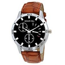 Golden Bell Original Chronograph Look Black Dial Tan Brown Strap Analog Wrist Watch for Men - GB-527 for Rs. 399