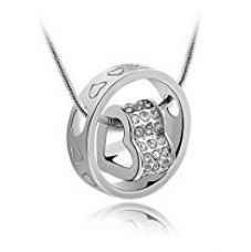 Habors 18K White Gold Plated Austrian Crystal Fortune Hearts Pendant for Women for Rs. 269