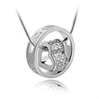 Habors 18K White Gold Plated Austrian Crystal Fortune Hearts Pendant for Women for Rs. 299