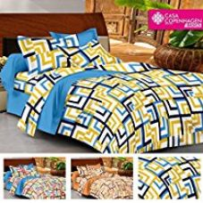 Buy Casa Basics - Ezy Collection 144 TC Yellow Checkred Cotton Double Bedsheet With 2 Pillow Covers from Amazon