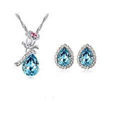 Buy Habors 18K Gold Plated Blue Austrian Crystal Rose Pendant set for Women from Amazon