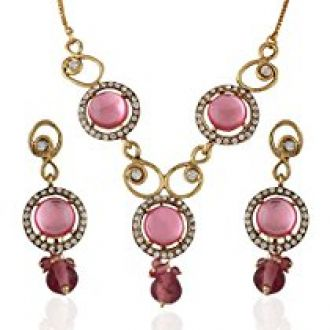 Buy Variation Light Pink Statement Necklace Set For Women - VD14009 from Amazon