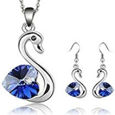 Buy Habors 18K White Gold Plated Deep Blue Romantic Swan Austrian Crystal Pendant Set from Amazon