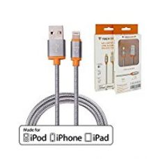 Buy Nylon Braided, Elegant & Tangle Free Lightning Cable [Apple MFI Certified] by Tech Sense Lab, 1m / 40 Inches with 100% Sync & Charge Compatibility With Apple Devices Incl. iPhones, iPads, iPods (Silver Grey) from Amazon