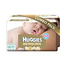 Huggies New Born Combo Pack (2 Packs, 24 Count per Pack) for Rs. 535