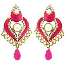 Buy Tradisyon Bollywood Inspired Sterling Pink Dangler/Drop Earring by Kaizer from Amazon