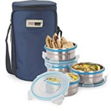 Buy Steel Lock 1341 Airtight 4pc Steel Lunch box,Meal,Tiffin Box with Insulated Bag from Amazon