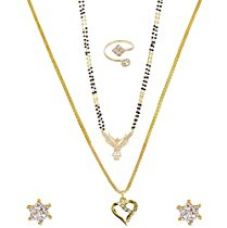 Buy Nnits Multicolor Gold Polished Pendant Necklace With Chain, Mangalsutra , Stud Earring & Ring Set For Women from Amazon