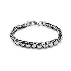 Buy Valentine Gifts: Dare By Voylla Silver Alloy With Oxidised Plated Bracelet For Men, Boyfriend & Husband from Amazon