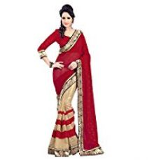 Vibes Crepe Georgette Saree (Ps49-Vbk28_Red) for Rs. 607