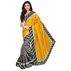 Buy Pick Attire Crepe Georgette Saree (Ps33-6012A_Yellow) from Amazon