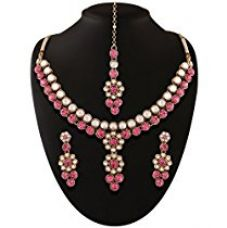 Buy I Jewels Traditional Gold Plated Elegantly Handcrafted Kundan Jewellery Set with Maang Tikka for Women IJ269Q (Rani/Dark Pink) from Amazon