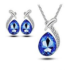 Buy Habors 18K White Gold Plated Deep Blue Austrian Crystal Allie Pendant Set (Valentine Gift) from Amazon