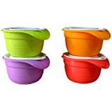 Buy Tupperware Versa Plastic Bowl Set, 650ml, Set of 4, Multicolour from Amazon