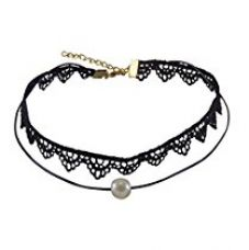 Buy Habors Black Lace & Pearl Pendant Choker Necklace For Women (Jfnd0486) from Amazon