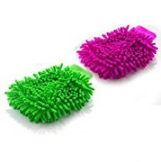 Buy Microfiber Super Soft Hand Glove (Set of 2) Duster Washing Mitt Single Side Gloves from Amazon