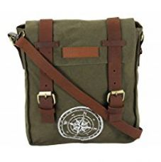 Buy The House Of Tara Wax Coated Cotton Canvas Messenger Bag (Olive Green) from Amazon