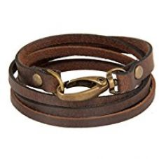 The Jewelbox Genuine Brown Leather Bangle Bracelet For Men for Rs. 345