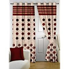 Story@Home Eyelet Fancy Jacquard Door Ringtop Curtain - 7 ft, Maroon for Rs. 368