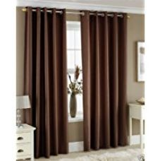 Homefab India Royal Modern 2 Piece Eyelet Polyester Window Curtain Set - 5ft, Brown for Rs. 465
