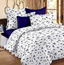 Story@Home 100% Cotton Floral Print Trendy Premium Double Bedsheets with 2 Pillow Covers, Purple for Rs. 549