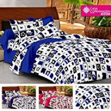 Buy Casa Basics - Ezy Collection 144 TC Purple & White Box Cotton Double Bedsheet With 2 Pillow Covers from Amazon