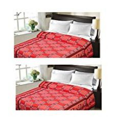 Christy's Collection Super Soft Printed 2 Piece Cotton Blend AC Double Blanket - Multicolor for Rs. 446