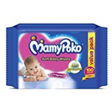 Buy Mamy Poko Anti-Bacterial Wipes With Fragrance, (100 Sheets) from Amazon