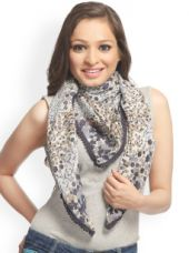 Buy Women Blue & White Printed Silk Scarf for Rs. 125