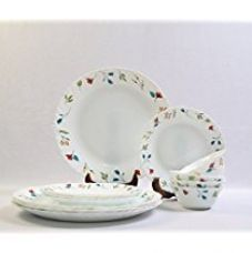 Buy Larah By Borosil Minerva Glass Dinner Set,  12-Pieces,  White from Amazon