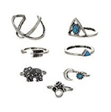 Buy Habors Non-Precious Metal Silver 7 Pieces Midi Ring Set For Women from Amazon