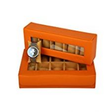 Buy KRIO Designs RED ORANGE PU Leather Premium WATCH Box Storage for 5 watches from Amazon