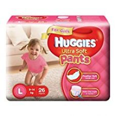 Buy Huggies Ultra Soft Pants Large Size Premium Diapers for Girls (White, 26 Counts) from Amazon