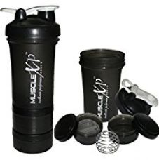 Buy MuscleXP AdvancedStak Protein Shaker for Professionals (Black & White) with Steel Ball - Design 11 from Amazon