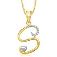 Valentine Gifts Amaal 'S' Alphabet Pendant For Women And Men With Chain PS0326 for Rs. 179