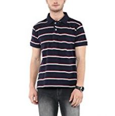 Buy American Crew Men's Polo Stripes T-Shirt (Navy and White) from Amazon