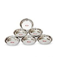 Buy Shubham Steel Plates / Dishes 6 Pcs Set 11 cm Small - B Hlw S11 from Amazon