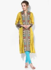 Flat 40% off on W Yellow Printed Kurta
