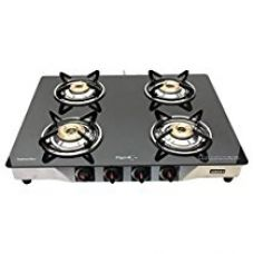 Buy Pigeon By Stovekraft Blackline Smart Stainless Steel 4 Burner Gas Stove, Black from Amazon