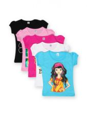 Flat 65% off on GKIDZ Girls Pack of 5 Printed T-shirts
