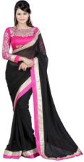 Get 67% off on Winza Designer Embellished, Embroidered, Paisley, Printed, Self Design, Solid Bollywood Chiffon Sari(Black, Pink, Multicolor)