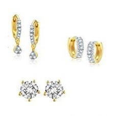 Buy Awww Gold Style Diva Daily Wear Earrings Jewellery For Women and Girls - Pack Of 3 from Amazon