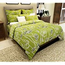 Home Candy 144 TC 100% Cotton Attractive Green Flowers Double Bed Sheet with 2 Pillow Covers for Rs. 489