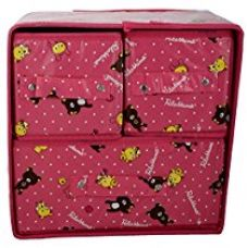 Buy CLUB LANE™ Non Woven Fabric Foldable Storage Box With 3 Drawers (28 Cm X 20 Cm X 30 Cm, Pink, Drawer_3) from Amazon