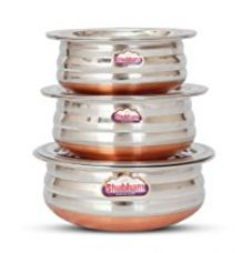 Buy Shubham Copper Bottom Container Urli With Lid - 3 Pcs Set S10-12 from Amazon