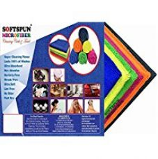 Buy SOFTSPUN MICROFIBER MULTI PURPOSE TOWEL & CLEANING CLOTH - 40X40Cm - PACK OF 5 - 340 GSM - MULTI-COLOR from Amazon