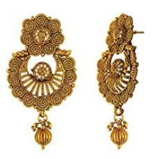 Buy Traditional Ethnic Floral Spiral Gold Plated Dangler Earrings for Women by Donna ER30124G from Amazon