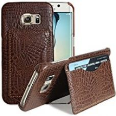 Buy S6 Edge Case, Galaxy S6 Edge Wallet Case, Luxury Fashion Pu Leather Wallet Case back Cover with 1 Credit Card/ID Card Slots for Samsung Galaxy S6 Edge (Brown) from Amazon