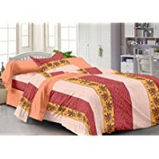 Story@Home Fantasy Contemporary 100 % Cotton Single Bedsheet with 1 Pillow Cover, Peach for Rs. 349